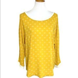 Anthropologie Yellow Henley Tunic Blouse